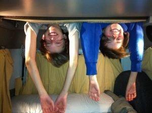 VW Camper Van Holiday in Scotland Kids Hanging out of Bedroom