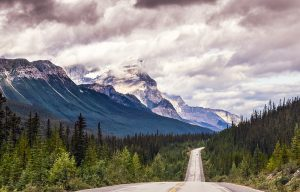 Drive through Icefields parkway, Jasper NP, Alberta, Canada